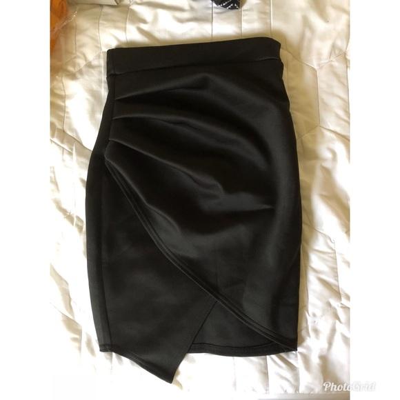 53ee208f9b Boohoo Skirts | Black Petite Ruched Side Asymmetric Mini Skirt ...